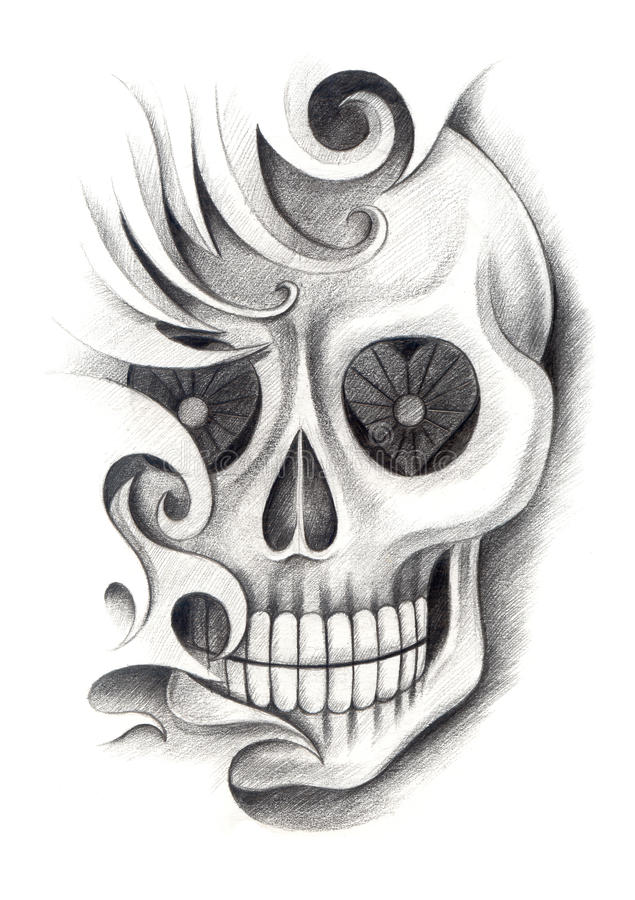 Skull art tattoo stock illustration illustration of for Drawing tattoos on paper