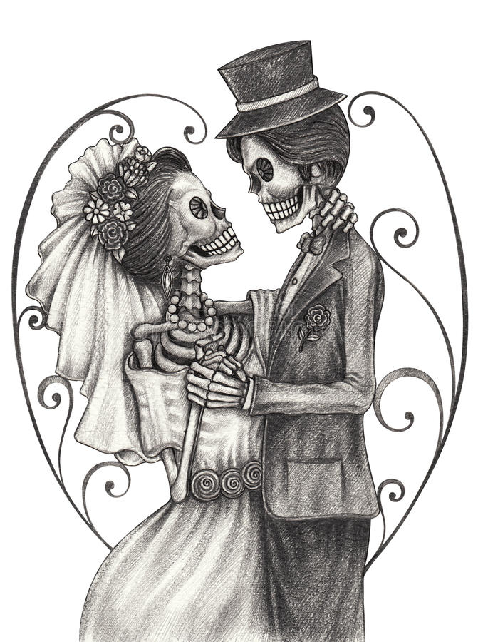 Skull art wedding day of the dead. stock illustration