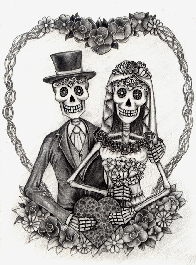 Skull art wedding day of the dead hand drawing on paper - Danseuse orientale dessin ...