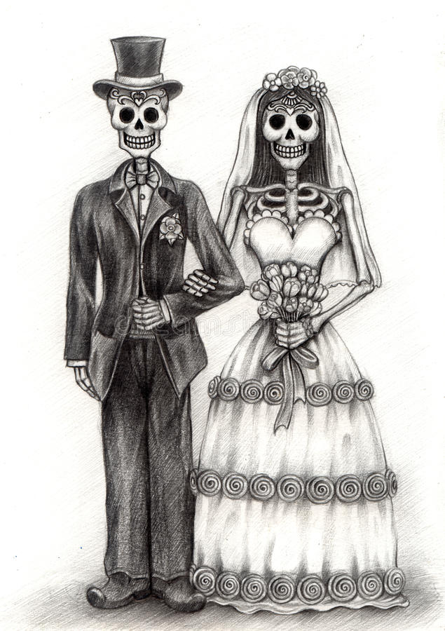 Free Skull Art Wedding Day Of The Dead . Hand Drawing On Paper. Stock Image - 55035811