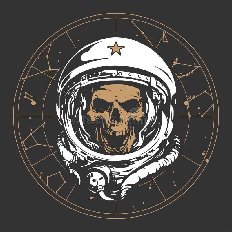 Skull astronaut illustration stock illustration