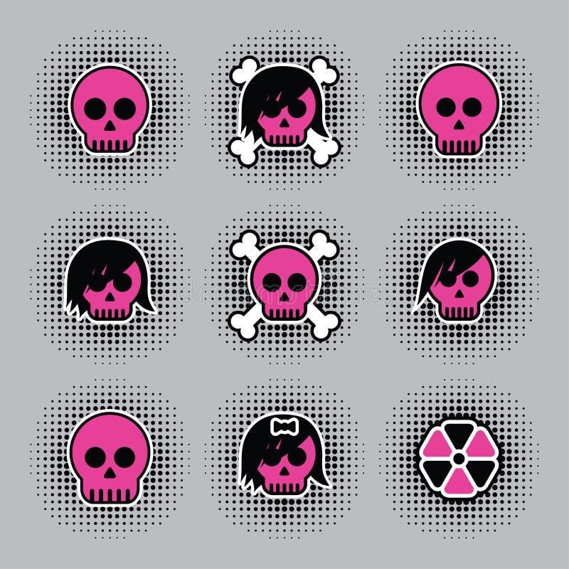 Skull badges vector illustration