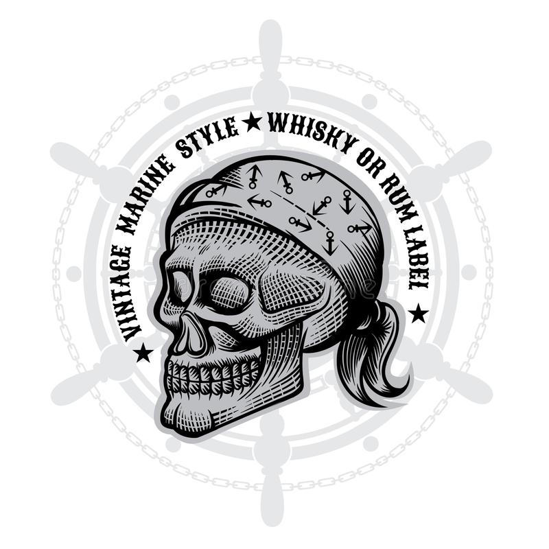 Skull with bandana in engraving style in center of steering wheel. Vector marine design elements on white vector illustration