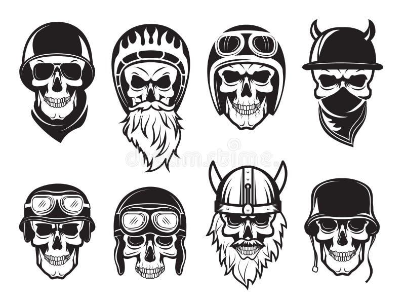 Skull bandana helmet. Bikers rock symbols tattoo vector black pictures royalty free illustration