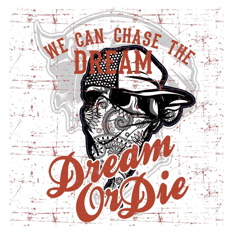 Skull bandana wearing cap and text dream quote hand drawing vector stock illustration