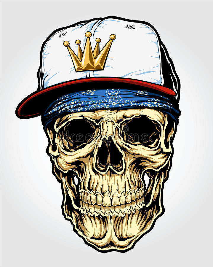 Skull with Bandanna and Cap stock illustration