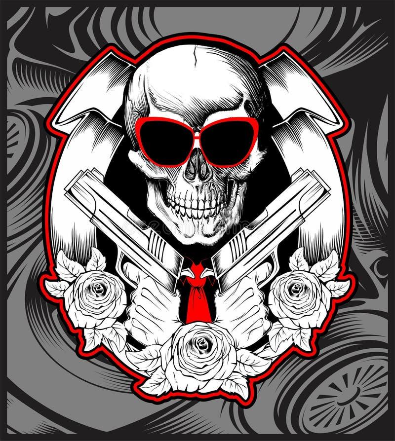 Skull bandit handling gun hand drawing vector. Skull bandit handling gun vector hand drawing,Shirt designs, biker, disk jockey, gentleman, barber and many others vector illustration
