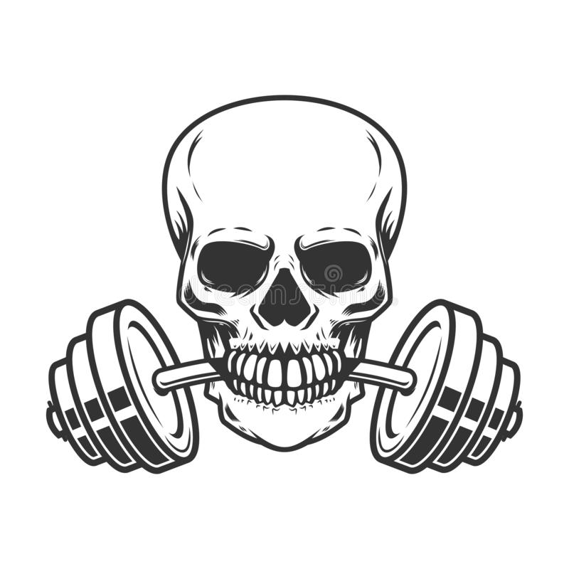 Skull with barbell in teeth. Design element for gym logo, label, emblem, sign, poster, t shirt. Vector image vector illustration