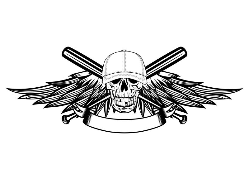 Download Skull In Baseball Cap And Wings Stock Vector - Illustration of head, hitter: 24712485
