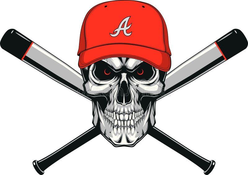 skull baseball evil stock vector illustration of banner 75576625 rh dreamstime com Baseball Bat and Ball Baseball Bat and Ball Clip Art