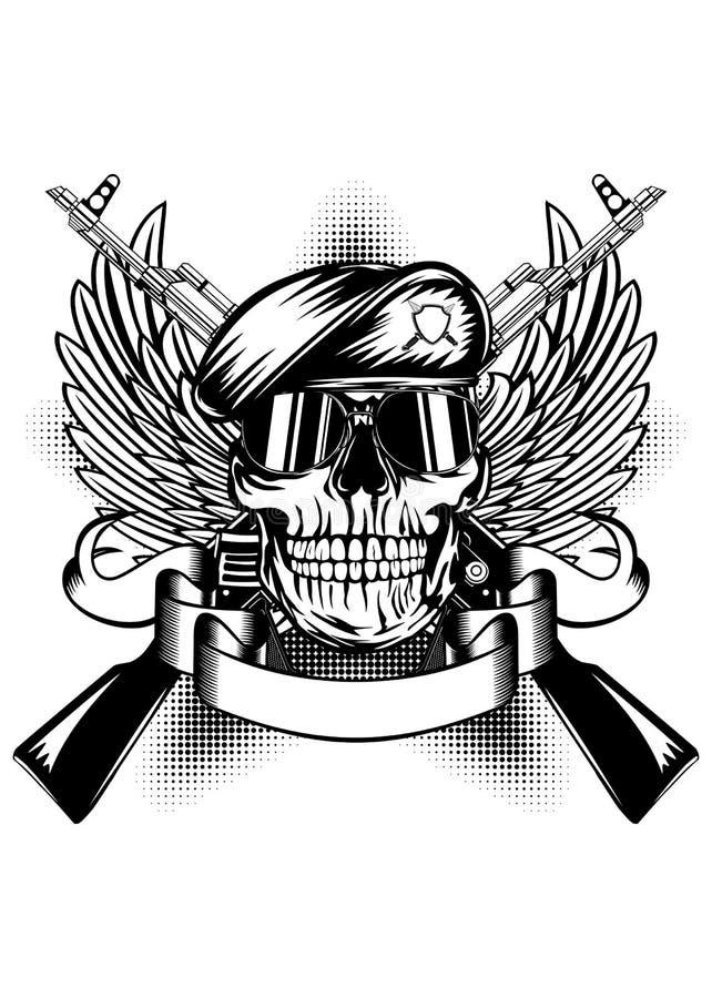 Skull In Beret And Two Kalashnikov Guns Stock Vector