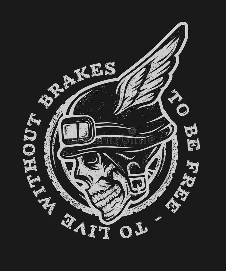 Skull Biker Helmet With Wings Stock Vector Illustration Of Motor