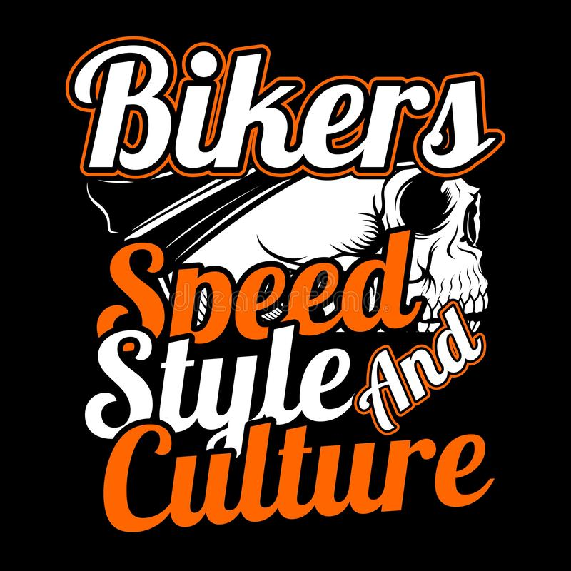 Skull bikers.speed,style and culture.vector hand drawing, stock photography