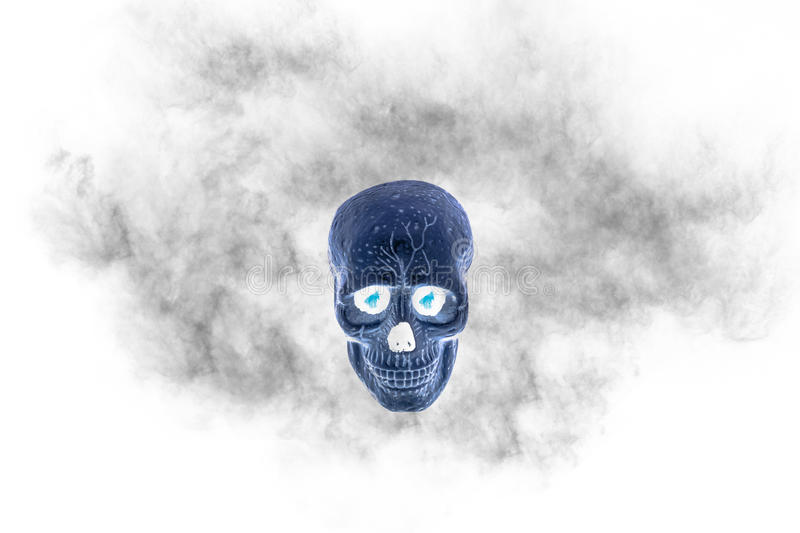Download Skull With Black Smoke On White Background Filter Effect Stock Photo