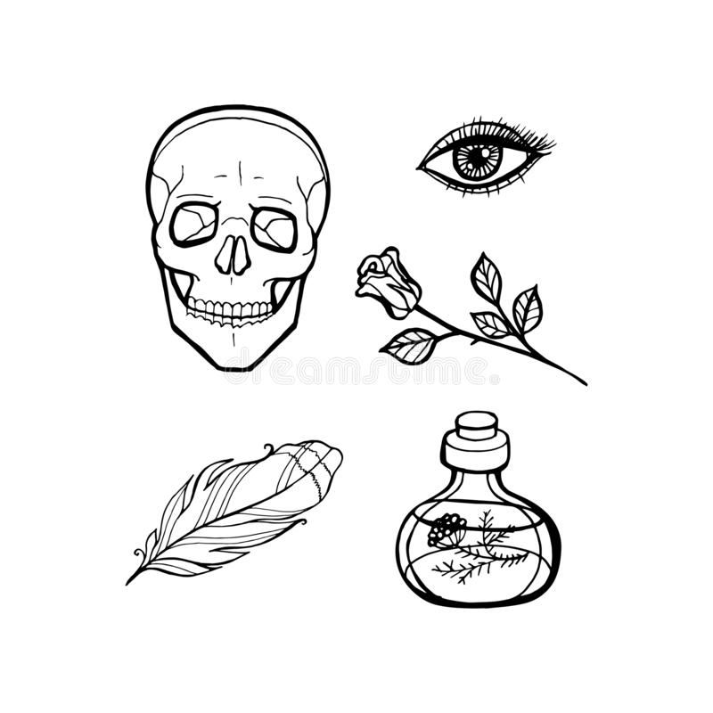 Skull black stickers on white background. Halloween line set. Vector pins and patches collection royalty free illustration