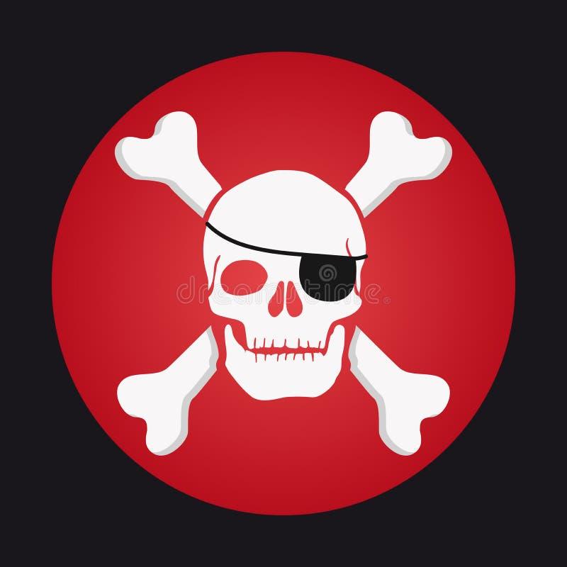 Skull and bones, eyepatch pirate royalty free illustration