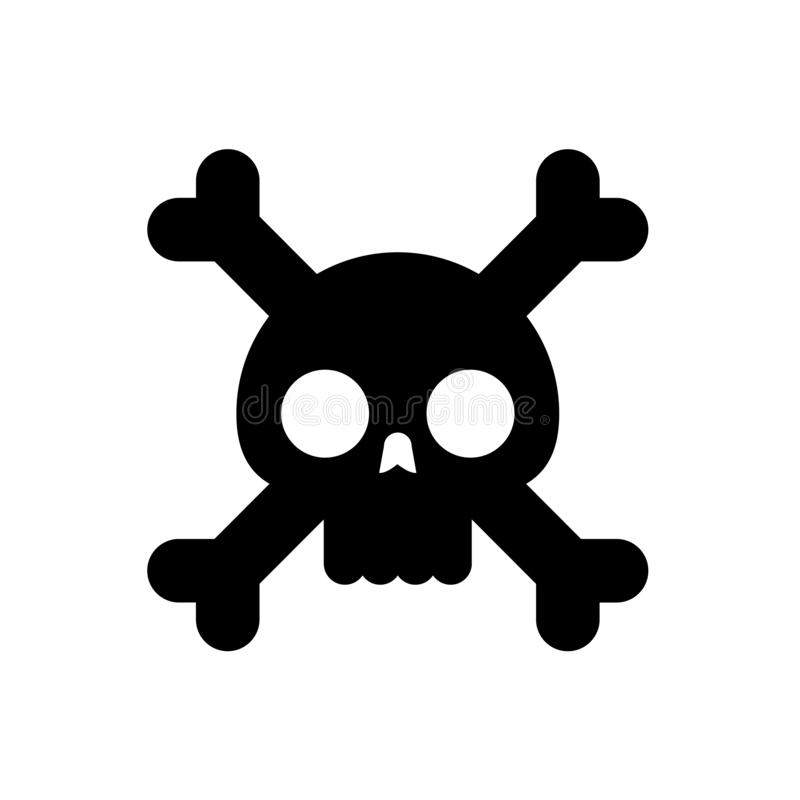 Skull with bones flat vector illustration royalty free illustration