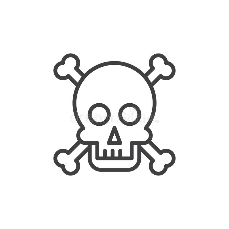 Skull and bones line icon, outline vector sign, linear style pictogram isolated on white. vector illustration