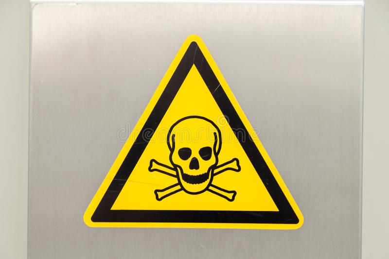 Skull and bones. Sign of danger high voltage photo royalty free stock images