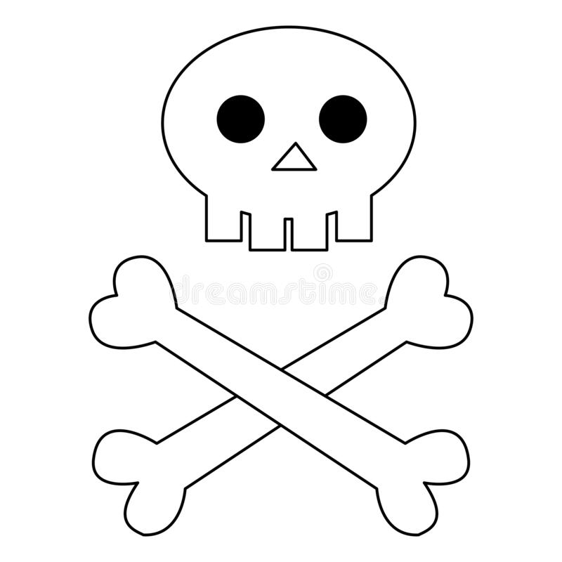 Skull with bones to halloween black line on white background vector illustration stock illustration