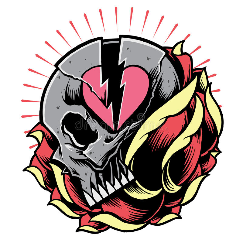 Skull and Broken Heart Symbol with Rose stock photo