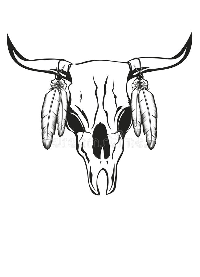 Free Skull Bull With Feathers Royalty Free Stock Photo - 25676085