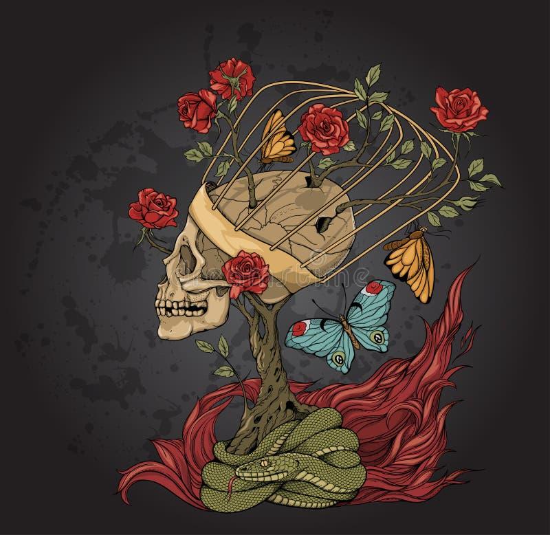 Skull, bush of roses, snake and flame stock illustration