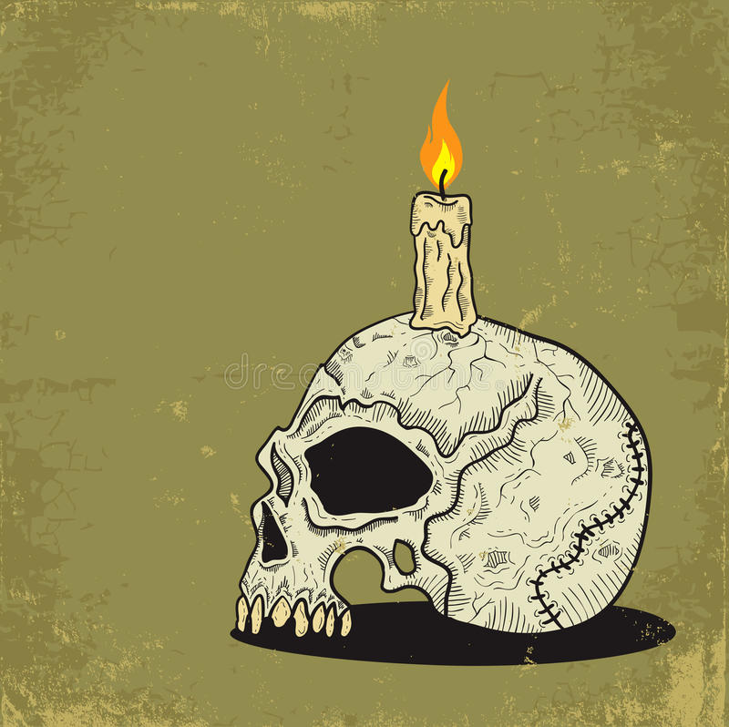 Skull with Candle stock illustration