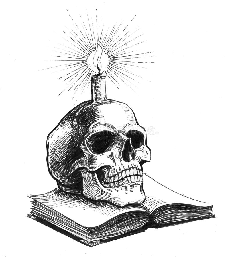 Skull, candle and book. Ink drawing of a skull, candle and book vector illustration