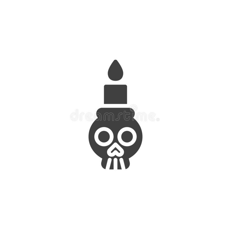 Skull with candle vector icon. Filled flat sign for mobile concept and web design. Halloween skull glyph icon. Symbol, logo illustration. Vector graphics stock illustration