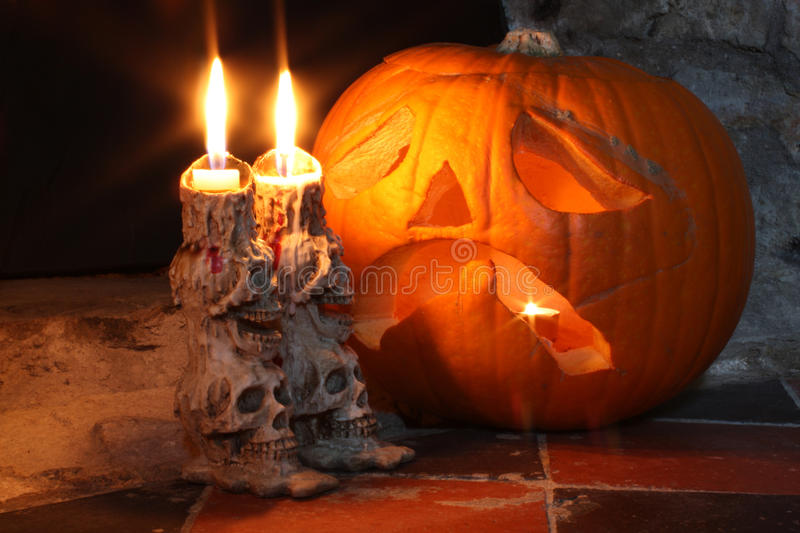 Download Skull Candlesticks & Pumpkin Lantern Stock Photography - Image: 27629562
