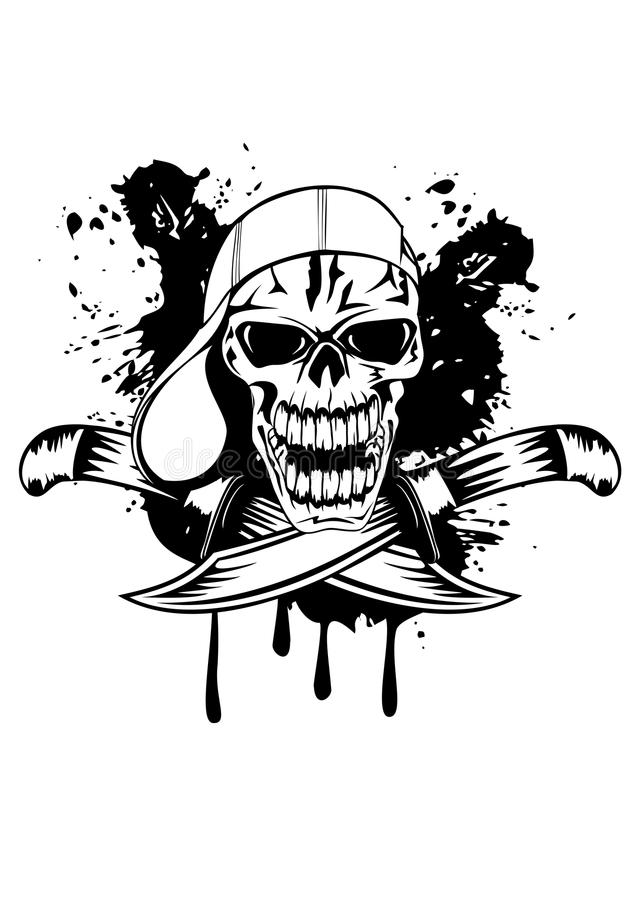 Download Skull in cap and knifes stock vector. Illustration of background - 25156359