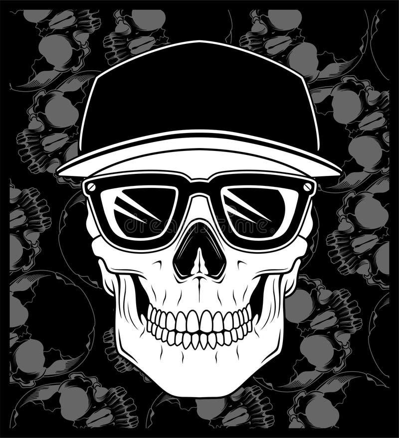 Skull cap wearing glasses vector. Skull cap wearing glasses Shirt designs, biker, disk jockey, gentleman, barber and many others stock illustration