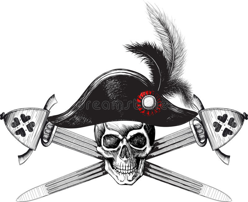 Skull in the captain hat and two crossed swords stock images