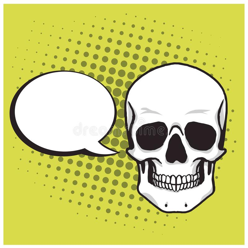 Skull Cartoon Drawing with Bubble Speech Pop Art Background Vector stock photography