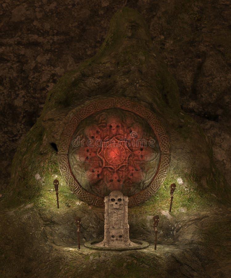 Skull cave crypt. 3D rendered dark skull cave crypt illustration vector illustration