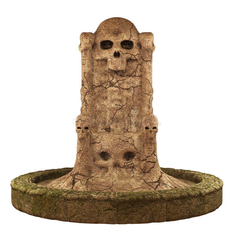 Skull cave crypt. 3D rendered dark skull cave crypt on white background isolated stock illustration