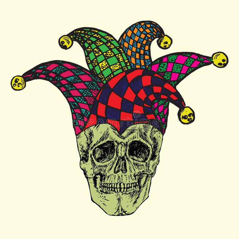 Skull in checkered jester hat, hand drawn doodle, sketch in woodcut style royalty free illustration