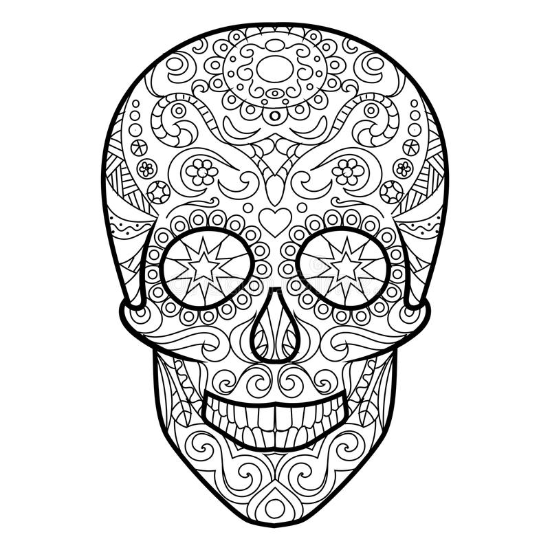 Skull Coloring Book For Adults Vector Stock Vector - Illustration of ...