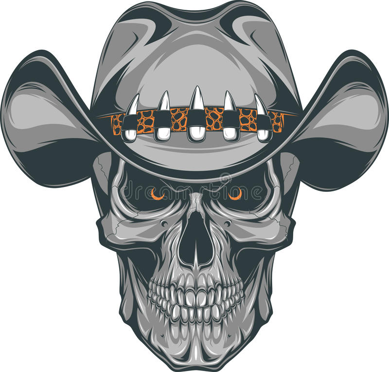 Skull cowboy stock illustration