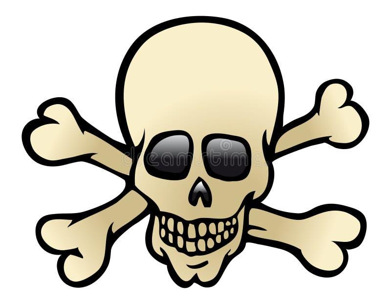 Skull & crossbones. Cartoon illustration of a skull & crossbones royalty free illustration
