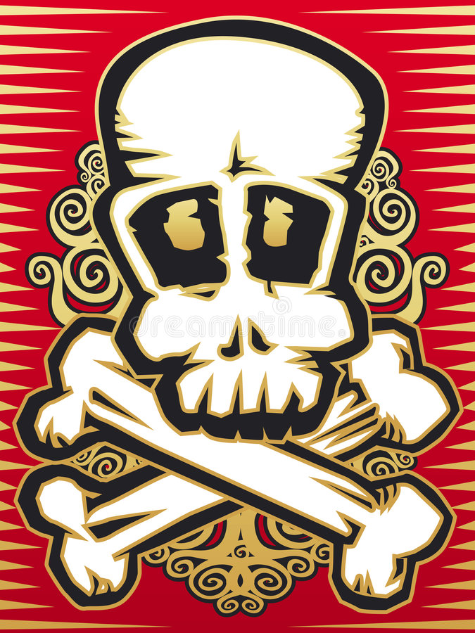Skull with crossbones stock illustration