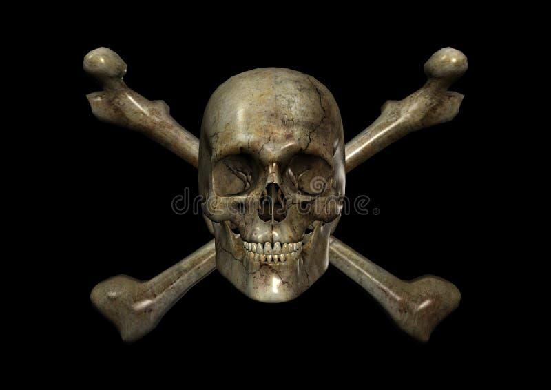 Skull & Crossbones. 3D render of a skull & crossbones with Clipping Path vector illustration