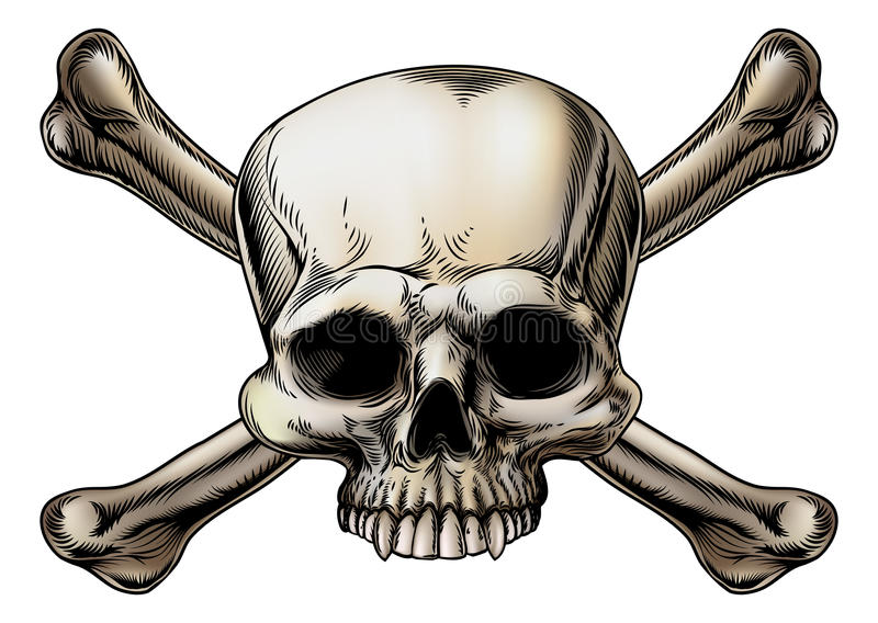 Skull and crossbones drawing stock illustration