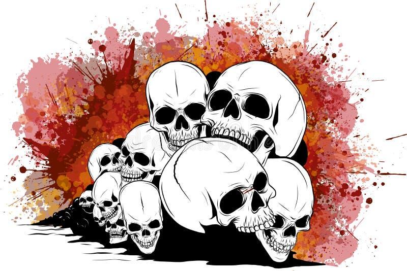 Skull and crossbones. human skulls and bones with shallow depth of field. Skull and crossbones. human skulls Skulls and bones with shallow depth of field vector illustration