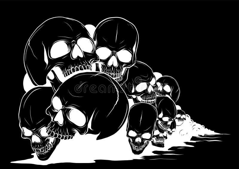 Skull and crossbones. human skulls and bones with shallow depth of field royalty free illustration