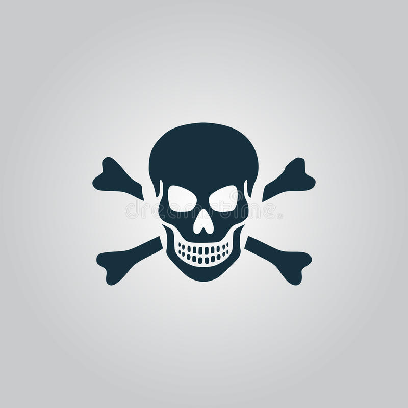 Skull and crossbones icon isolated. Skull and crossbones. Flat web icon, sign or button isolated on grey background. Collection modern trend concept design style stock illustration