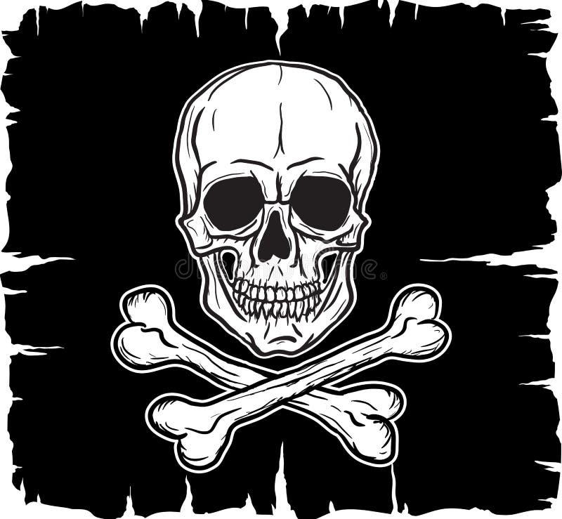 Skull and Crossbones over black flag