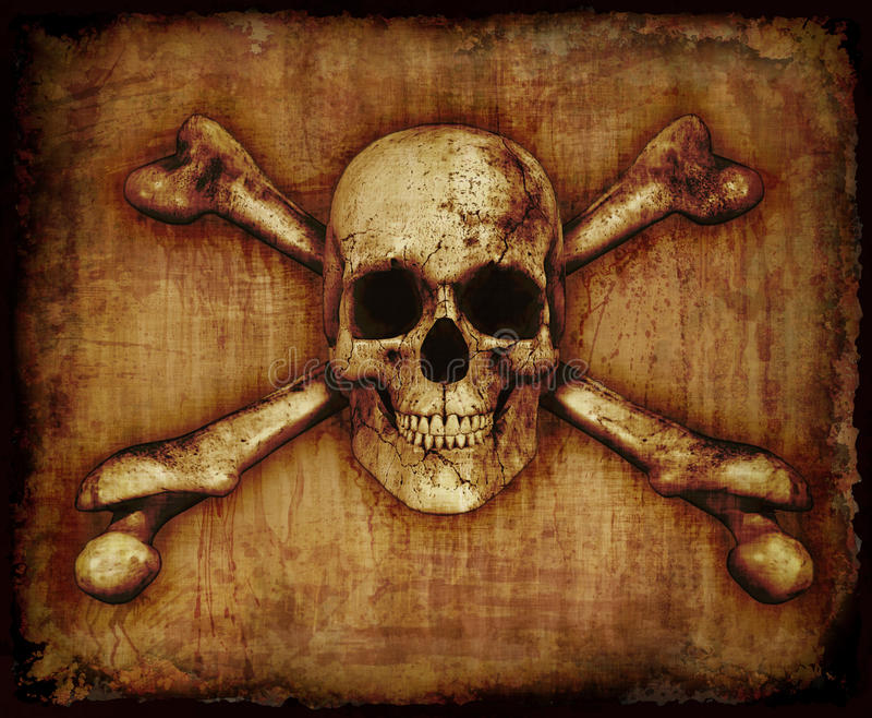 Skull and Crossbones on Paerchment vector illustration