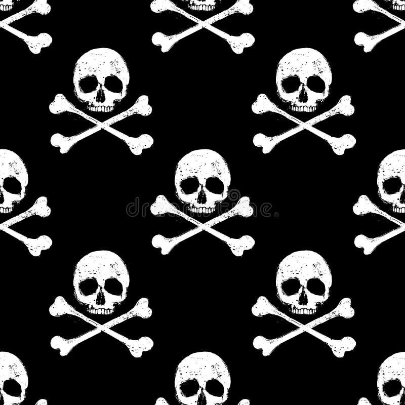 Skull and crossbones seamless background vector illustration
